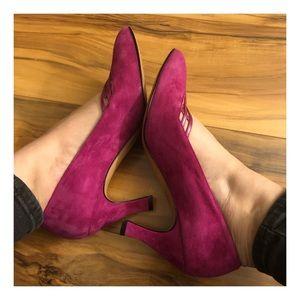 Vintage Pink Suede Heels, Made in Italy, 8B